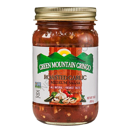 Green Mountain Gringo Gluten Free Roasted Garlic Medium Salsa 454g