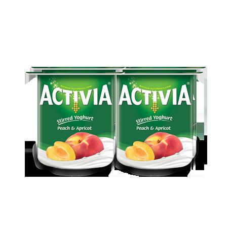 Activia Stirred Yogurt Peach & Apricot 4x120g