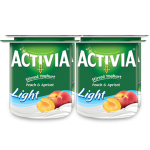 Activia Stirred Yoghurt Peach & Apricot Light 4x120g