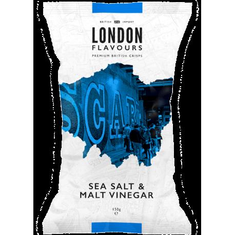 London Flavours Sea Salt Malt Vinegar Potato Chips 150g