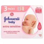 Johnson's Baby Extra Sensitive 168 Wipes 2+1