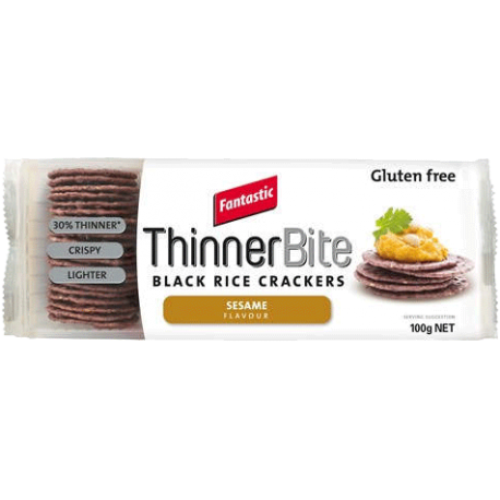 Fantastic ThinnerBite Black Rice Crackers Sesame Flavour 100g