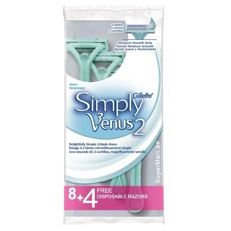 Gillette Simply Venus 2 Disposable Razors (8+4)