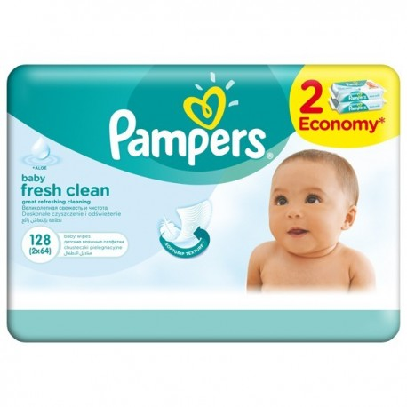 Pampers Baby Fresh Clean 128 Wipes, 2 Economy Packs