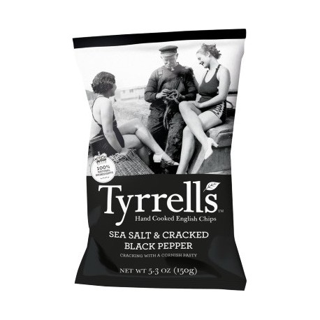 Tyrrell's Handcooked English Crisps Sea Salt & Cracked Black Pepper 150g