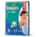 Pampers Active Baby Dry 3 Medium, 4-9kg, 17 Diapers