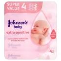 Johnson's Baby Extra Sensitive 224 Wipes 3+1 Free