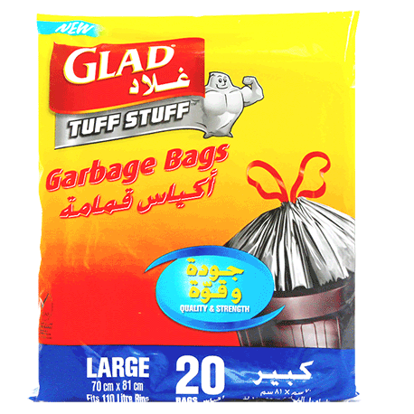 Glad Tuff Stuff 20 Garbage Bags 110L Large 70x80cm